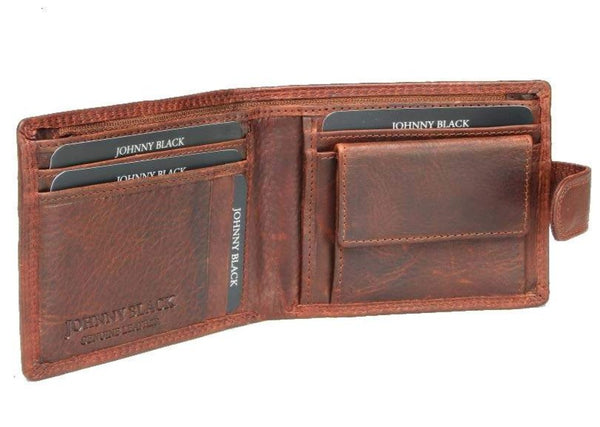 Johnny Black VT Antique 6CC Tab Closure Leather Wallet - RFID | Brown - KaryKase