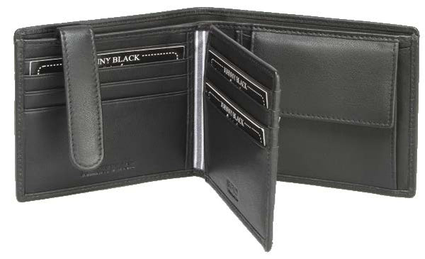 Johnny Black Buttersoft 12CC Bi-Fold Leather Wallet | Black - KaryKase