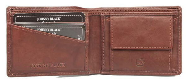 Johnny Black Bavaria Mini 3CC Leather Wallet - RFID | Brown - KaryKase