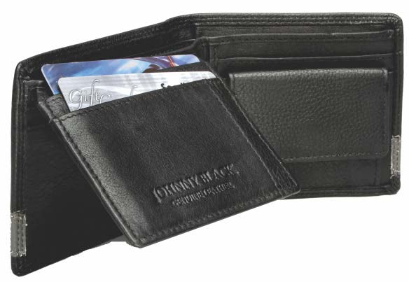 Johnny Black Chicago 8CC Bi-fold Leather Wallet - RFID | Black - KaryKase
