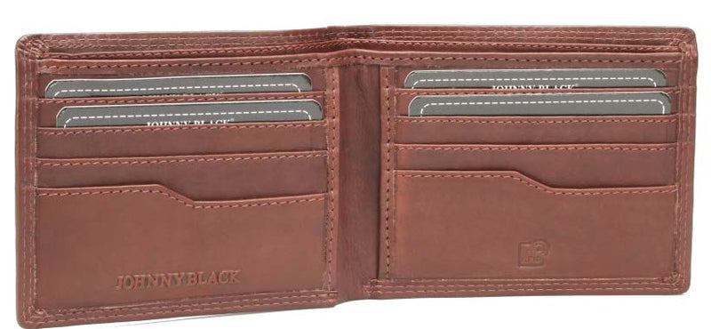 Johnny Black Bavaria 8CC Bi-Fold Leather Wallet - RFID | Brown - KaryKase