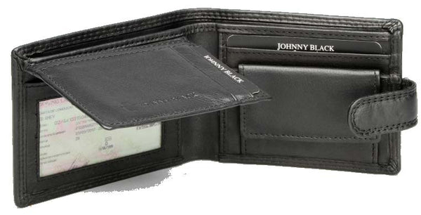Johnny Black Chicago Mini Compact 8CC Leather Wallet - RFID | Black - KaryKase