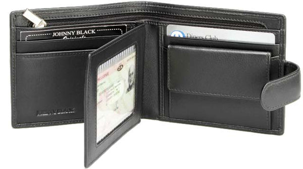 Johnny Black Buttersoft 13CC Tab Closure Leather Wallet | Black - KaryKase