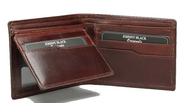 Johnny Black Berlin 12CC Polished Leather Wallet - RFID | Brown - KaryKase