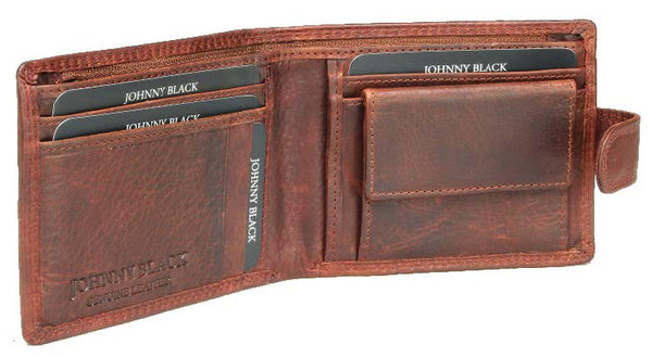 Johnny Black Bavaria 6CC Tab Closure Leather Wallet - RFID | Brown - KaryKase