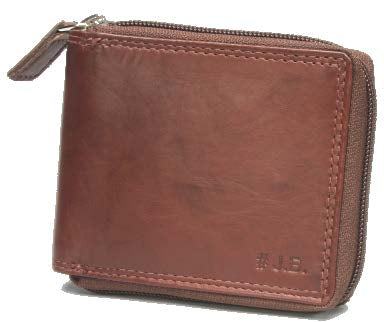 Johnny Black Bavaria Zip Around Leather Wallet - RFID | Brown - KaryKase