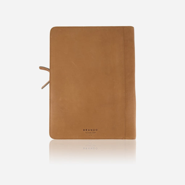 Brando Cooper A4 Leather Zip Folder | Tan - KaryKase