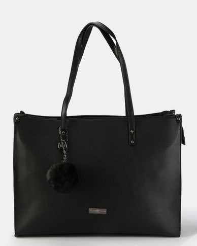 Supernova Pompom Ladies Laptop Bag | Black - KaryKase