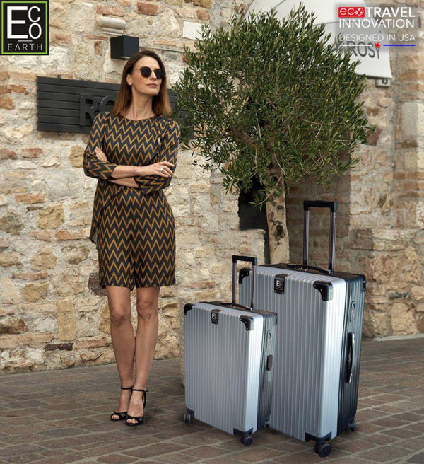 Eco Earth Berlin 2 Pc Luggage Spinner Set | Silver/Black - KaryKase