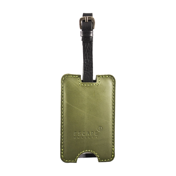 Escape Society Peep-Out Genuine Leather Luggage Tag | Olive Green - KaryKase
