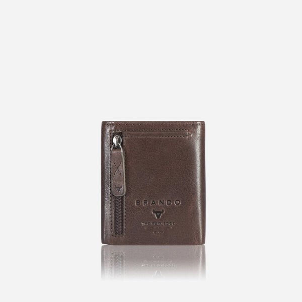Brando Cooper  X Upright Trifold Leather Wallet | Brown