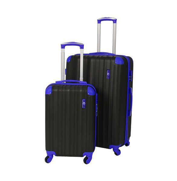 Eco Earth San Juan 2 Pc ABS Luggage Set | Black/Blue
