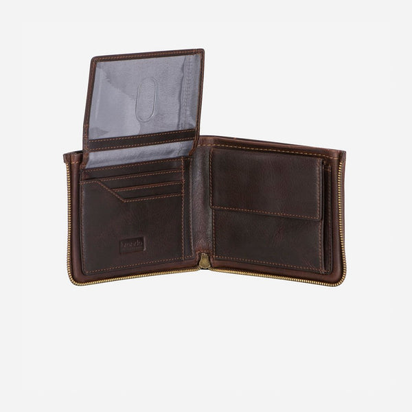 Brando Eastwood Modern Multi Card Leather Zip Wallet | Brown