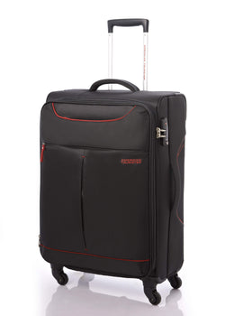 American Tourister Sky 55cm Cabin Spinner - Expandable | Black/Red - KaryKase