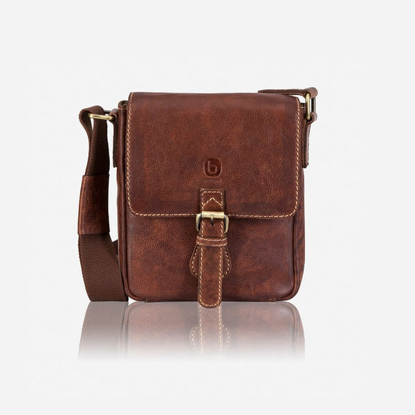 Brando Asher Leather Slim Cross body Bag | Brown - KaryKase