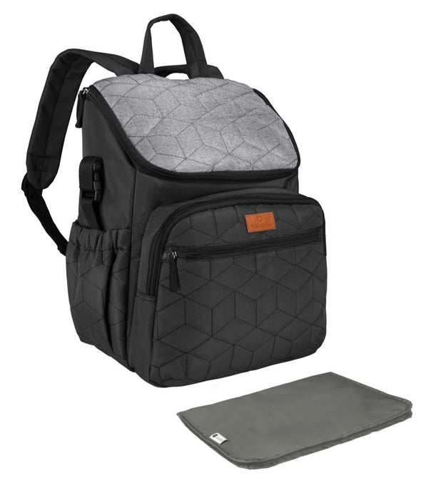 Totes Babe Fantasia 22L Diaper Backpack | Black/Grey - KaryKase