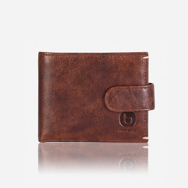 Brando Asher  Multi Card Press Stud Leather Wallet | Brown