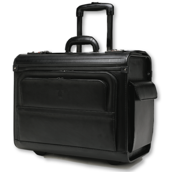 Tosca Leather Laptop Pilot Case With Wheels | Black - KaryKase