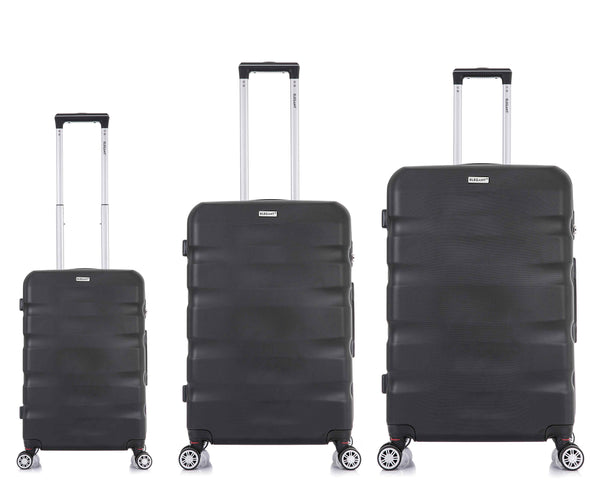 Tosca Explorer 3 Piece Luggage Trolley Set | Black - KaryKase