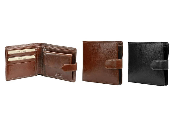 Adpel Leather Wallet With Coin Purse and Tab Closure
