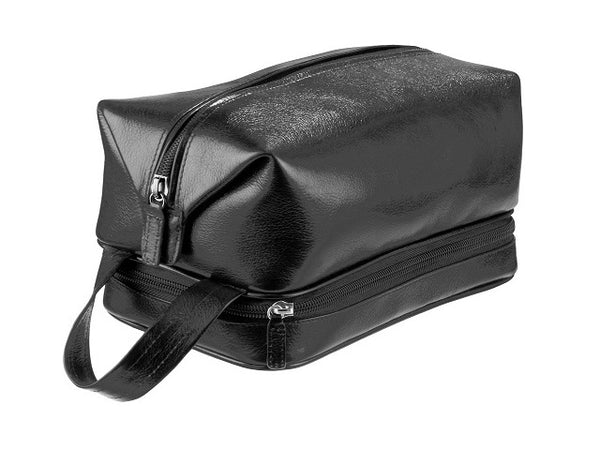 Adpel Italian Leather Toiletry Bag | Black - KaryKase
