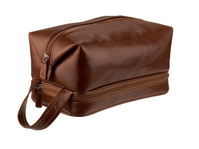 Adpel Italian Leather Toiletry Bag | Brown