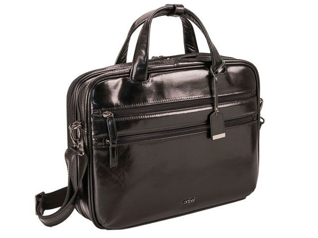 Adpel Roma Leather Laptop Bag | Black - KaryKase