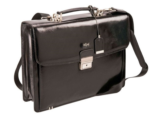 Adpel Fabio Leather Laptop Briefcase | Black - KaryKase