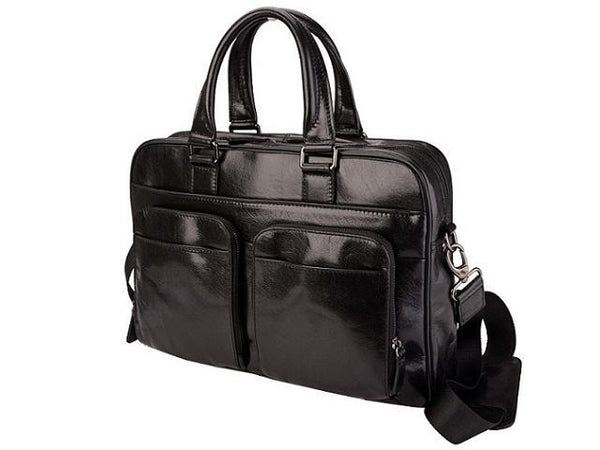 Amalfi Italian Leather Computer Bag | Black - KaryKase