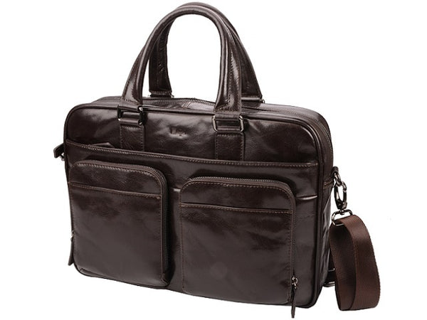 Amalfi Italian Leather Computer Bag | Brown - KaryKase