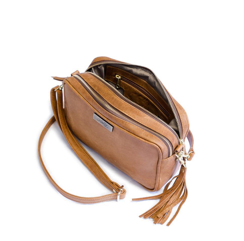 Mally Suzie Leather Sling Bag | Brown - KaryKase