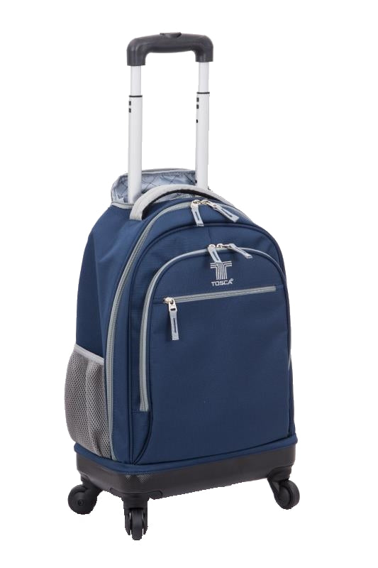 Tosca 4 Wheeler Spinner Trolley School Backpack | Navy/Grey - KaryKase