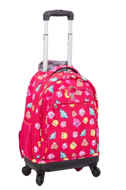 Tosca 4 Wheeler Spinner Trolley School Backpack | Pink Owl - KaryKase