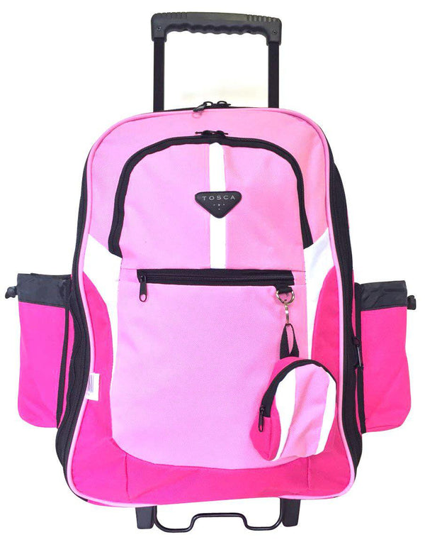 Tosca Large School Backpack On Wheels | Pink - KaryKase