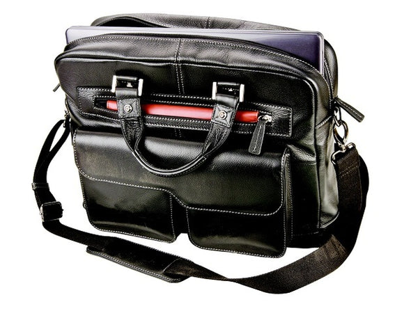 Adpel Ambassador Nappa Leather Laptop Bag | Black - KaryKase