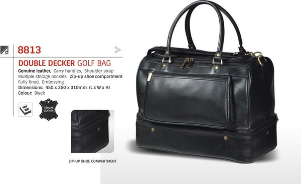 Adpel Leather Double Decker Golf Bag | Black - KaryKase