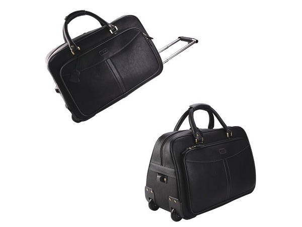 Adpel Monaco Leather Duffel on Wheels | Black - KaryKase