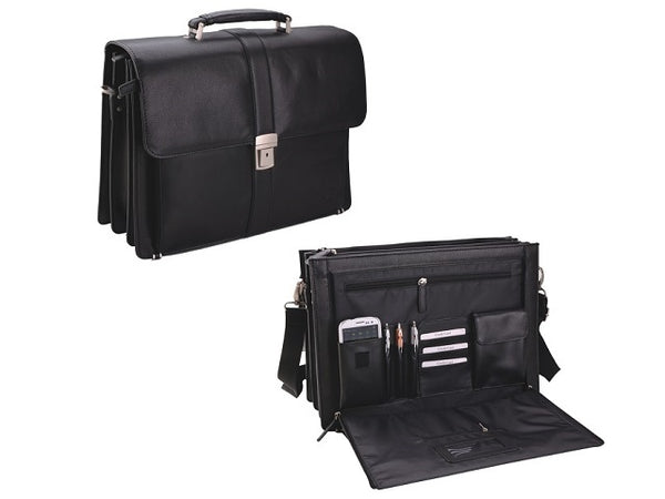 Adpel Wall-Street Leather 3 Division Briefcase | Black - KaryKase