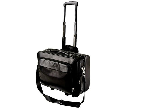 Adpel Executive Nappa Leather Laptop Trolley Bag | Black - KaryKase
