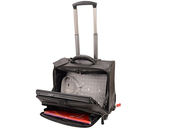 Adpel City Mobile Office Leather Trolley Bag | Black