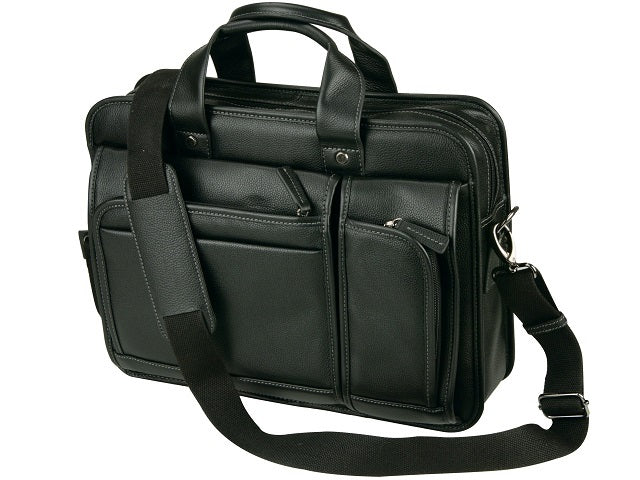 Adpel Leather Business Computer Briefcase | Black - KaryKase