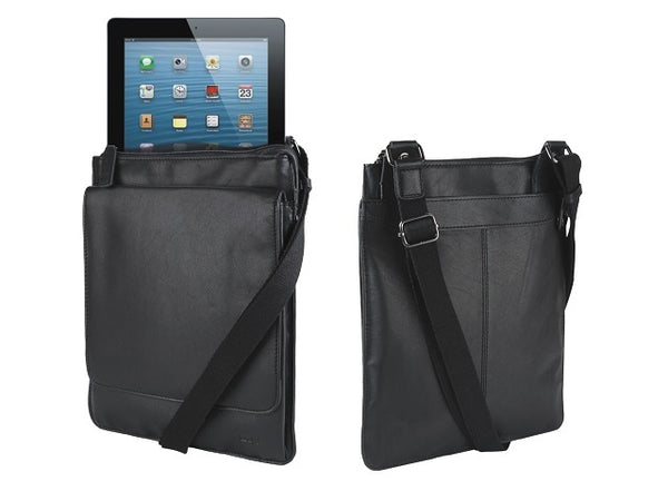 Adpel Nappa Leather Messenger iPad Bag | Black - KaryKase