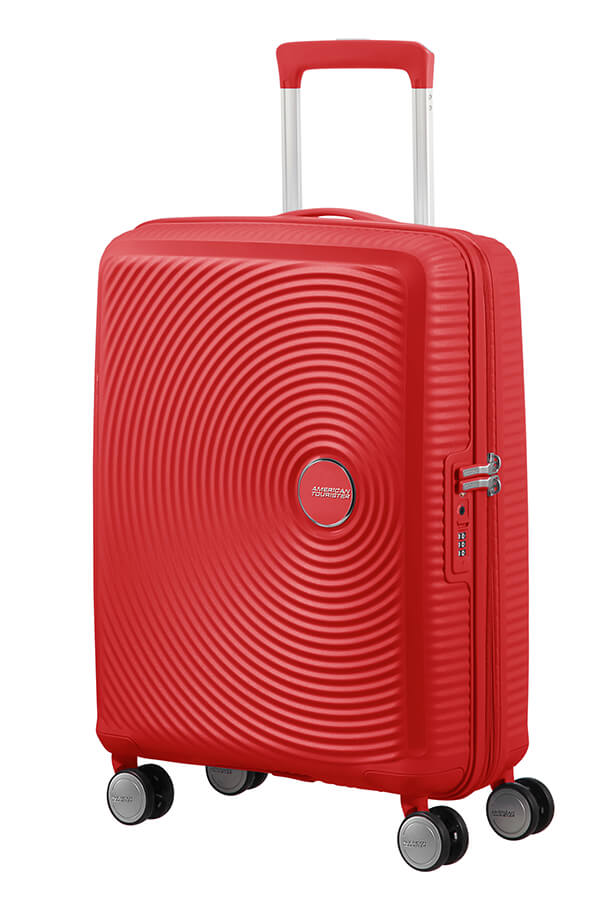 American Tourister Soundbox 55cm Cabin Spinner - Expandable | Coral Red - KaryKase