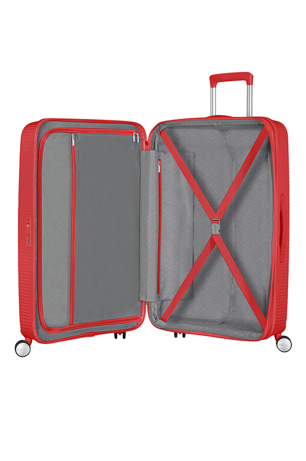 American Tourister Soundbox 77cm Large Spinner-Expandable | Coral Red - KaryKase