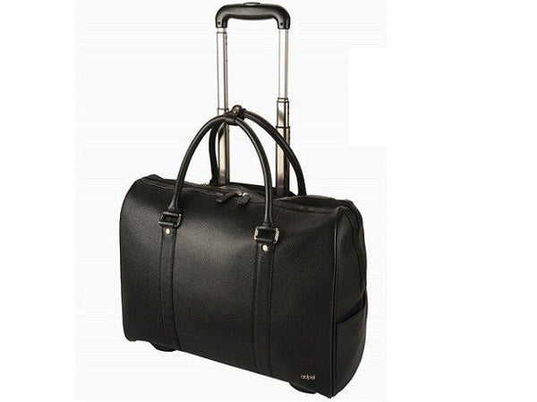 Adpel St Tropez Wheeled Leather Travel Tote | Black - KaryKase