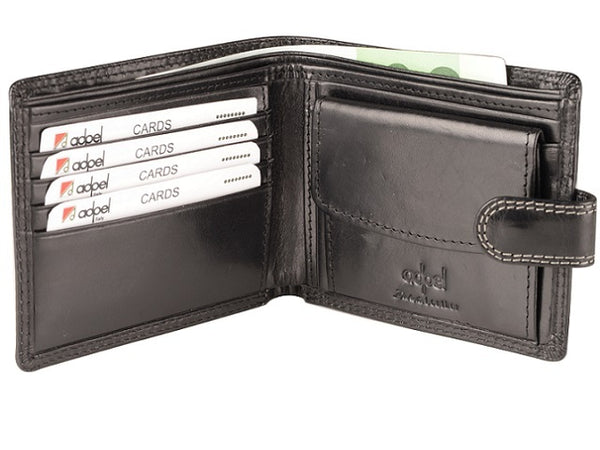 Adpel Dakota Leather Wallet With Tab | Black - KaryKase