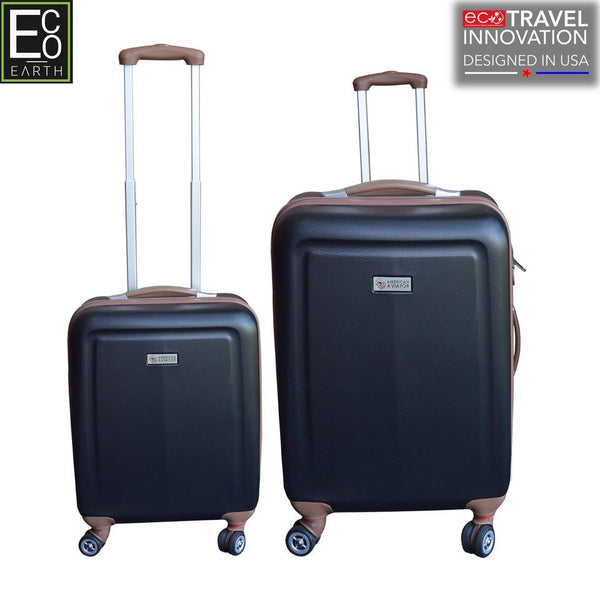 Eco Earth Monaco American Aviator 2 Pc ABS Luggage Set | Black - KaryKase