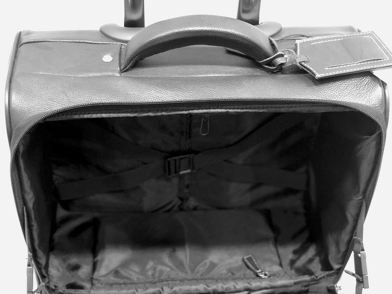 Adpel City Mobile Office Leather Trolley Bag | Black - KaryKase