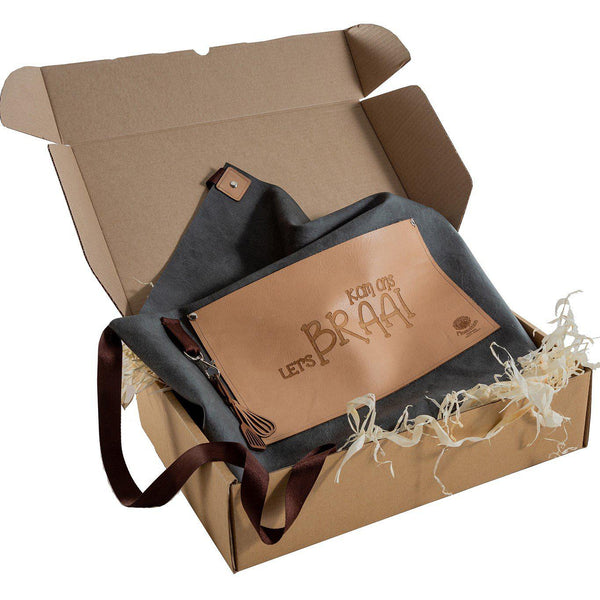 Yuppie Gift Baskets Come Let's Braai Apron Leather on vinyl (with leather inlays) - KaryKase