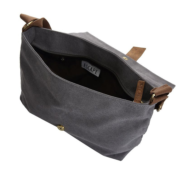 Escape Classic Canvas Messenger Bag | Dark Grey - KaryKase